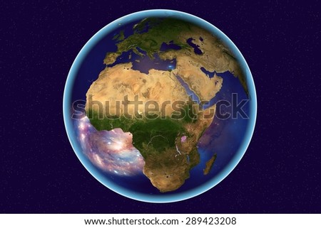 Planet Earth on background with stars; the Earth from space showing Arabian peninsula and Africa on globe in the day time; galaxies are reflected in water; elements of this image furnished by NASA