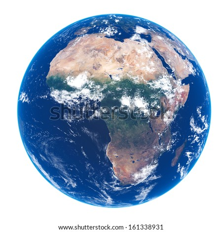 Planet EARTH on white - Satellite view of AFRICA (source maps- http://visibleearth.nasa.gov/) Ultra high resolution