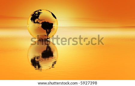 Planet earth reflected in an orange sea with an orange atmosphere