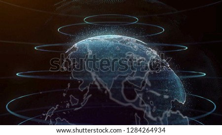 Planet earth rotating animation future technology business concept. Digital shiny globe of Earth. Rotation of glossy planet with glowing particles