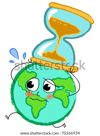 Planet earth running desperately with hourglass