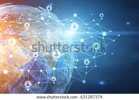 Planet Earth seen from outer space with a network drawing near it. Toned image, double exposure. Elements of this image furnished by NASA