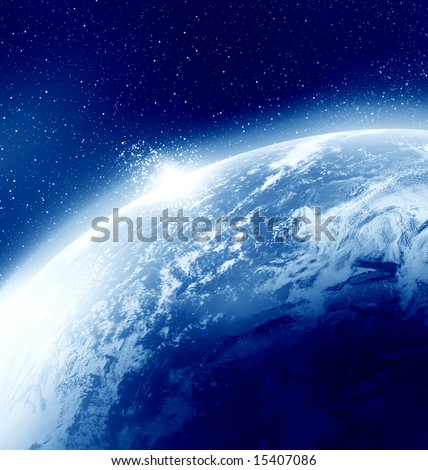 planet earth seen from outer space, with some stars