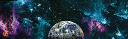 Planet Earth seen from space, planets, stars and galaxies in outer space showing the beauty of space exploration. This image elements furnished by NASA.