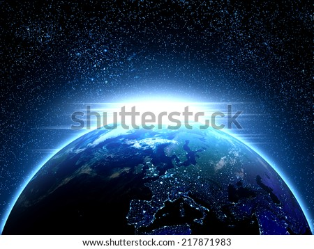 Planet earth seen from space with a strong light beam on the edge Nasa texture was used