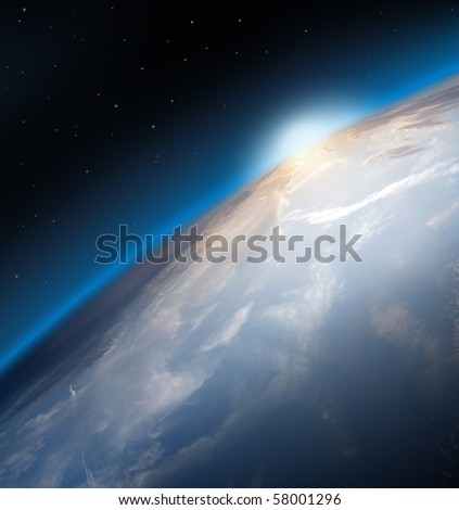 Planet Earth Space Global View and Sun in the Background