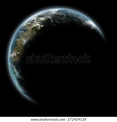 Planet Earth space scene with lit up visible outline - Elements of this Image Furnished By NASA