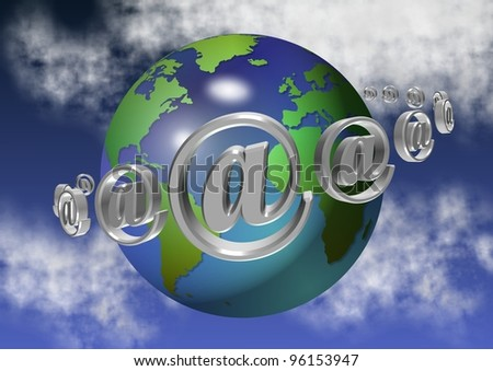 planet earth surrounded by at symbols with clouds and sky in the background / at symbol and earth