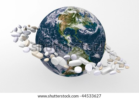 Planet earth surrounded by medicine, cure or save this world.