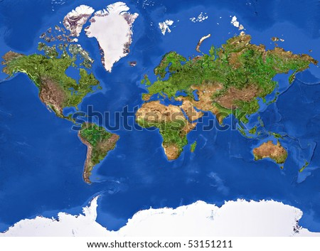 Planet Earth Texture. High resolution of the Planet Earth painted texture. - stock photo