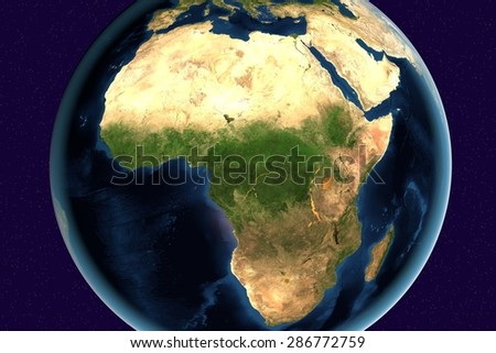 Planet Earth; the Earth from space showing Africa and Madagascar on globe in the day time; elements of this image furnished by NASA
