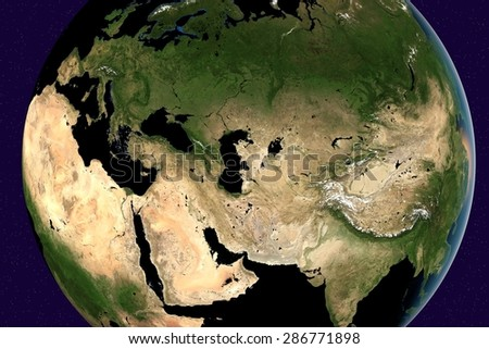 Planet Earth; the Earth from space showing Europe, Asia, Arabian peninsula, Saudi Arabia, India, Russia on globe in the day time; elements of this image furnished by NASA