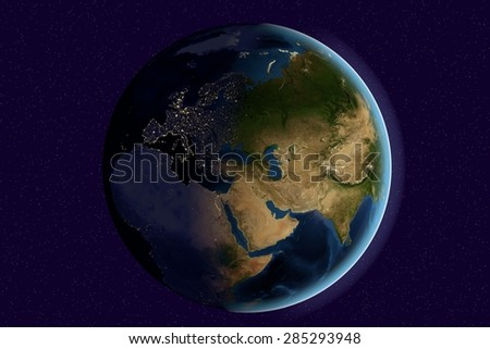 Planet Earth; the Earth from space showing India, Asia, Europe on globe in the day and night time; elements of this image furnished by NASA