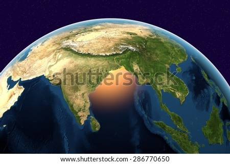 Planet Earth; the Earth from space showing India, Sri Lanka, Indonesia on globe in the day time; elements of this image furnished by NASA