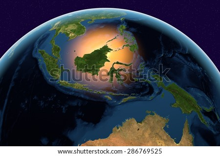 Planet Earth; the Earth from space showing Indonesia on globe in the day time; elements of this image furnished by NASA