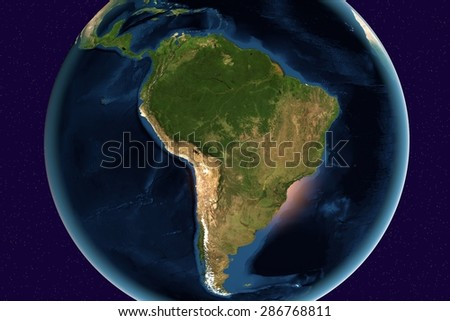 Planet Earth; the Earth from space showing South America, Brazil, Argentina, Chile, Colombia, Uruguay, Paraguay, Amazon, rainforest on globe in the day time; elements of this image furnished by NASA