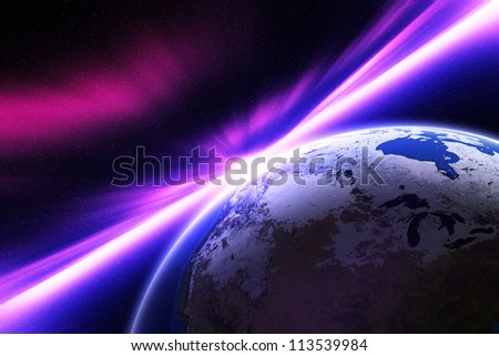 Planet Earth. The impact of radiation exposure. Elements of this image furnished by NASA.
