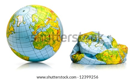 planet earth toy balloon inflated and deflated