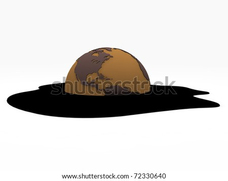 planet earth under oil pollution isolated on white background