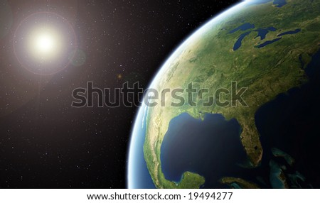 Planet Earth - United States of America from Space -  ( Background is full with stars )