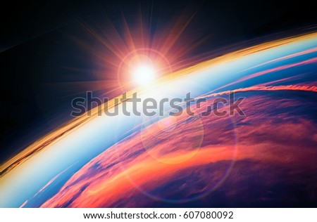 Shutterstock Planet Earth with a spectacular sunset.