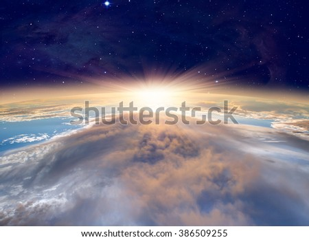 Planet Earth with a spectacular sunset. .\