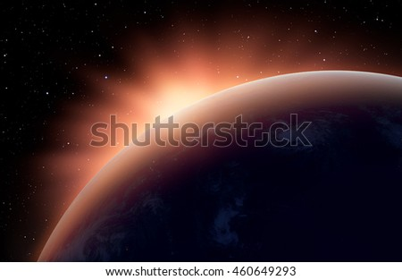 """Planet Earth with a spectacular sunset. .""""Elements of this image furnished by NASA"""" #460649293"""