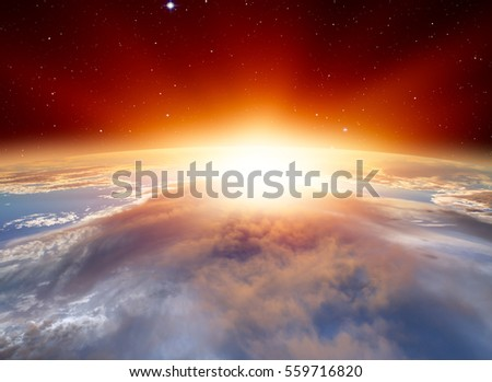 "Planet Earth with a spectacular sunset. .""Elements of this image furnished by NASA"" #559716820"