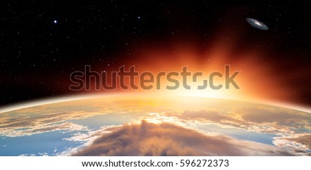 """Planet Earth with a spectacular sunset """"Elements of this image furnished by NASA"""" #596272373"""