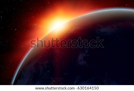 """Planet Earth with a spectacular sunset. .""""Elements of this image furnished by NASA"""" #630164150"""