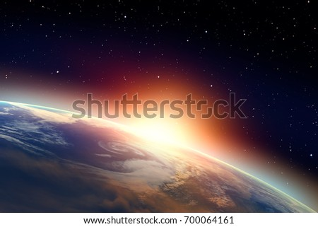 """Planet Earth with a spectacular sunset. .""""Elements of this image furnished by NASA"""" #700064161"""