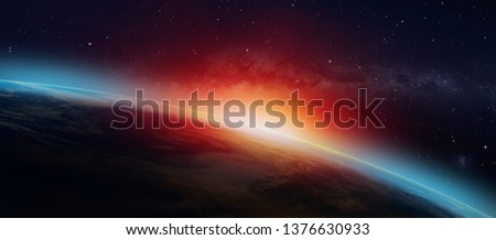 "Planet Earth with a spectacular sunset in the background milky way galaxy ""Elements of this image furnished by NASA""  #1376630933"