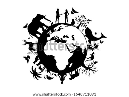 Planet Earth with animals and humans black silhouette. Planet Earth black silhouette. Wild animals silhouette. Planet Earth with fauna and flora icon. Animals and people on planet earth illustration