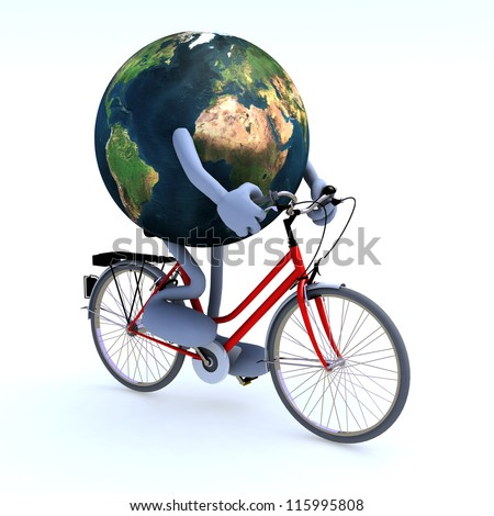 Planet earth with arms and legs riding a bycicle, 3d illustration. Elements of this image furnished by NASA