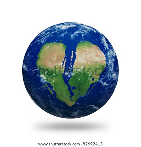 Planet Earth with broken heart shaped continents and clouds over a starry sky. Contains clipping path of planet.