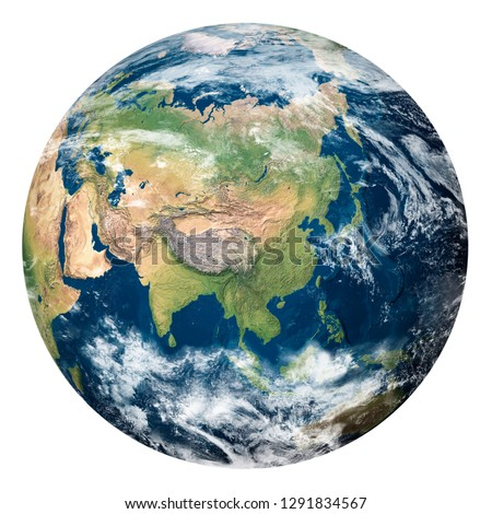 Planet Earth with clouds, Asia - Elements of this image furnished by NASA