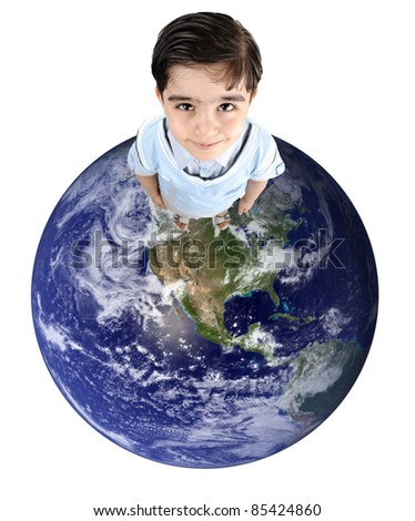 Planet earth with cute kid on
