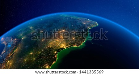 Planet Earth with detailed exaggerated relief at night lit by the lights of cities. Central America. East Coast of Brazil. 3D rendering. Elements of this image furnished by NASA