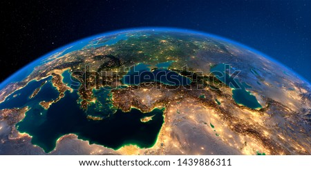 Planet Earth with detailed exaggerated relief at night lit by the lights of cities. Turkey. Middle East countries. 3D rendering. Elements of this image furnished by NASA