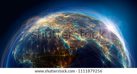 Planet Earth with detailed relief is covered with a complex luminous network of air routes based on real data. Middle East. 3D rendering. Elements of this image furnished by NASA