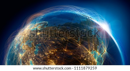 Planet Earth with detailed relief is covered with a complex luminous network of air routes based on real data. Russia. 3D rendering. Elements of this image furnished by NASA