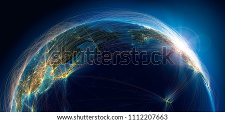 Planet Earth with detailed relief is covered with a complex luminous network of air routes based on real data. Pacific Ocean. 3D rendering. Elements of this image furnished by NASA