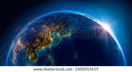 Planet Earth with detailed relief is covered with a complex luminous network of air routes based on real data. Pacific Ocean. Japan, China. 3D rendering. Elements of this image furnished by NASA