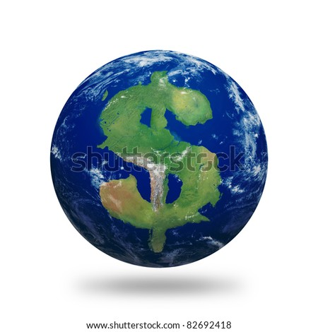 Planet Earth with dollar sign shaped continents and clouds over a starry sky. Contains clipping path of planet.  Clouds and land textures from http://shadedrelief.com.
