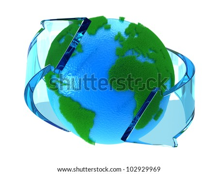 Planet Earth with green continents with arrows around
