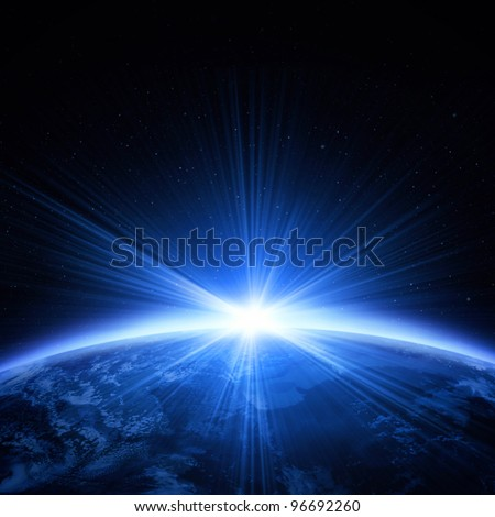Planet earth with light of sunrise