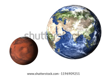 Planet Earth with mars of solar system isolated on white background. Elements of this image furnished by NASA.