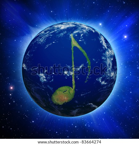 Planet Earth with music note shaped continents and clouds over a starry sky. Planet has clipping path
