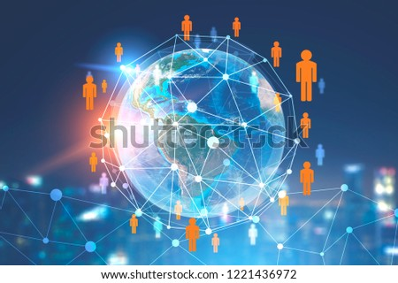 Planet Earth with people network hologram in night city sky. Blurred background. 3d rendering toned image double exposure Elements of this image furnished by NASA