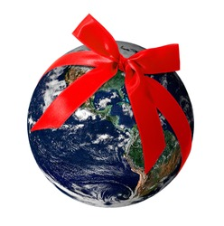 Planet Earth with red ribbon